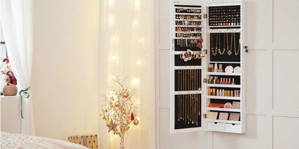mueble espejo joyero, espejo joyero  pared, espejo con almacenaje, a loja do gato preto espejos